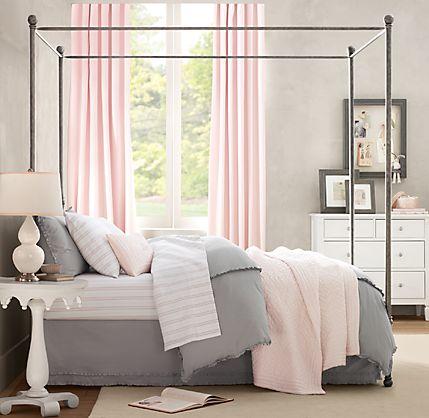 pink-gray-color-combination-pretty-grey-wall-bedding-pink-panel-curtains-bedroom-idea-formal-girly-classy-unique-decor-idea-decoration-fun-elegant-unique-cute-wall-