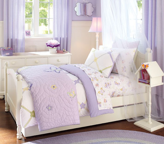 teen-bedroom-childrens-girls-idea-canopy-bed-ivory-purple-flowery-design-decor-bird-house-shelf-delicate-drapes-color-study-cottage-chic-pretty-ins
